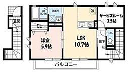 JR南武線 武蔵新城駅 徒歩23分の賃貸アパート 2階1SLDKの間取り