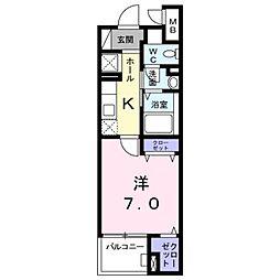 西武国分寺線 恋ヶ窪駅 徒歩11分の賃貸マンション 2階1Kの間取り