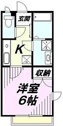 埼玉県所沢市東狭山ケ丘1丁目の賃貸アパートの間取り