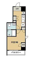 西武新宿線 久米川駅 徒歩2分の賃貸マンション 7階1Kの間取り