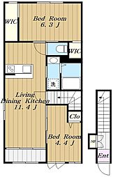 JR相模線 下溝駅 徒歩17分の賃貸アパート 2階2LDKの間取り