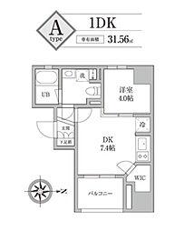 JR山手線 神田駅 徒歩3分の賃貸マンション 4階1DKの間取り