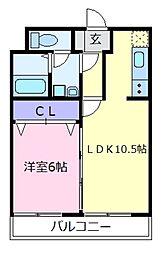 石田ハイツ2号館[1階]の間取り