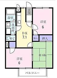 大阪府堺市東区南野田の賃貸アパートの間取り