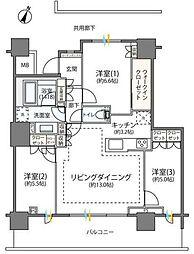 小田急小田原線 海老名駅 徒歩3分の賃貸マンション 21階3LDKの間取り