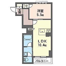 グランディヴィラ柏の葉キャンパス 1階1LDKの間取り
