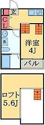 JR京葉線 蘇我駅 徒歩13分の賃貸アパート 2階1Kの間取り