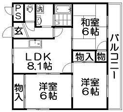 ディアコート秋[6階]の間取り