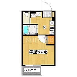 京成本線 江戸川駅 徒歩7分の賃貸アパート 1階1Kの間取り