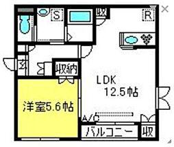 東武野田線 北大宮駅 徒歩16分の賃貸アパート 3階1LDKの間取り