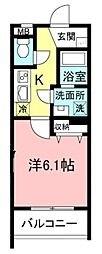 サクラコーポレートハウス 1階1Kの間取り