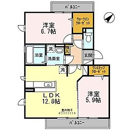Osaka Metro御堂筋線 なかもず駅 徒歩9分の賃貸アパート 3階2LDKの間取り