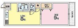 シャンテー香里ヶ丘3[2階]の間取り