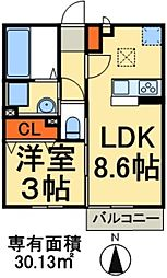 JR武蔵野線 新八柱駅 徒歩9分の賃貸アパート 1階1LDKの間取り