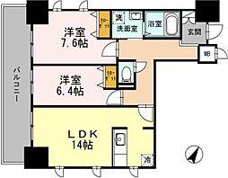 セルティスコート 4階2LDKの間取り
