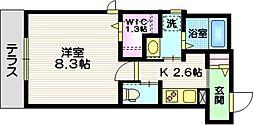 ザ・プレイス藤沢 1階1Kの間取り