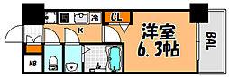 プレサンス淡路駅前 6階1Kの間取り