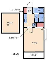 リバティハイツ片江[205号室]の間取り