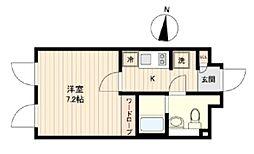 ラピス若松河田 4階1Kの間取り