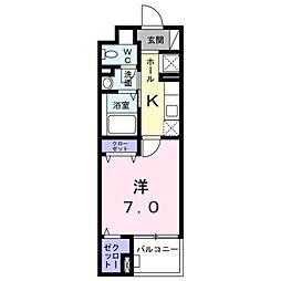 イリーデ 4階1Kの間取り