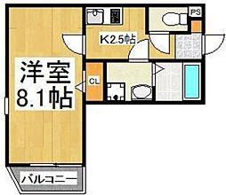 JR武蔵野線 新秋津駅 徒歩3分の賃貸アパート 2階1Kの間取り