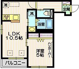 Tiida武蔵小山 2階1LDKの間取り