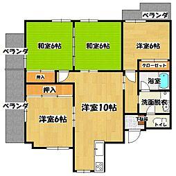 江崎第7ビル[206号室]の間取り