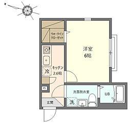 グランステージ川崎 3階1Kの間取り