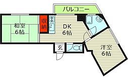 今清マンション 3階2DKの間取り