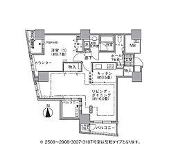 JR山手線 浜松町駅 徒歩3分の賃貸マンション 25階1LDKの間取り