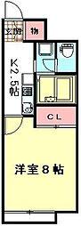 東武野田線 大和田駅 徒歩18分の賃貸アパート 2階1Kの間取り