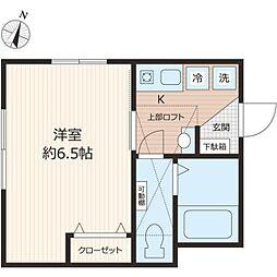 東武東上線 鶴ヶ島駅 徒歩6分の賃貸アパート 1階1Kの間取り