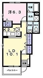 大阪府堺市美原区小寺の賃貸アパートの間取り