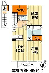 東武野田線 新鎌ヶ谷駅 徒歩21分の賃貸アパート 2階2LDKの間取り