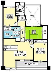 アーバンパレス白木原[2階]の間取り