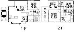 [一戸建] 大阪府枚方市藤阪東町2丁目 の賃貸【/】の間取り