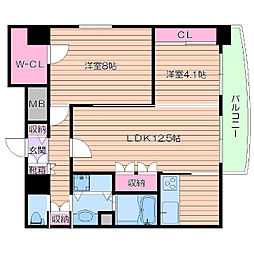 Osaka Metro御堂筋線 江坂駅 徒歩5分の賃貸マンション 13階2LDKの間取り