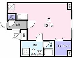 横浜市営地下鉄グリーンライン 北山田駅 徒歩5分の賃貸マンション 2階ワンルームの間取り