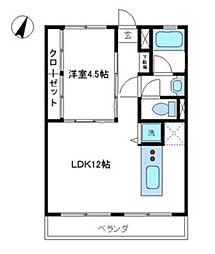 神奈川県横浜市青葉区美しが丘1丁目の賃貸アパートの間取り