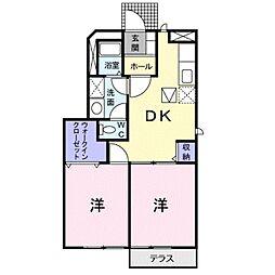 愛知県豊橋市前芝町字西青の賃貸アパートの間取り