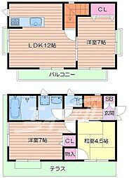 [タウンハウス] 大阪府箕面市箕面6丁目 の賃貸【/】の間取り