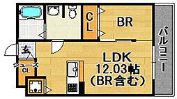 阪急京都本線 上新庄駅 徒歩5分の賃貸アパート 1階1LDKの間取り
