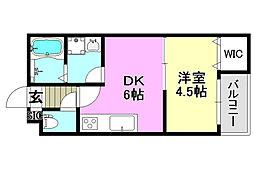 阪急京都本線 茨木市駅 徒歩9分の賃貸アパート 1階1DKの間取り