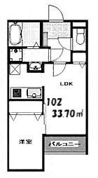 Kag.R大濠I 2階1LDKの間取り