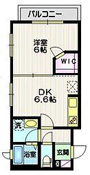 東急大井町線 戸越公園駅 徒歩8分の賃貸マンション 3階1DKの間取り