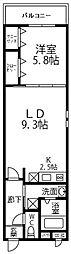 南海高野線 大阪狭山市駅 徒歩11分の賃貸アパート 1階1LDKの間取り