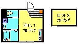 相鉄いずみ野線 弥生台駅 徒歩10分の賃貸アパート 2階ワンルームの間取り