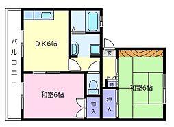 ドミール島泉B棟[1階]の間取り