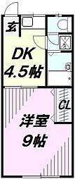 埼玉県所沢市若狭1丁目の賃貸アパートの間取り