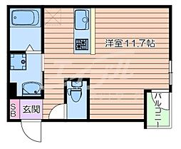 マークス尼崎 3階ワンルームの間取り